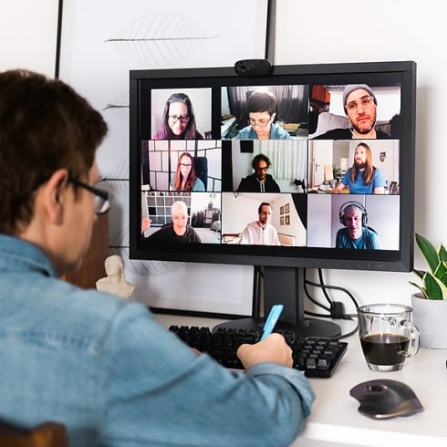Man attends video conference