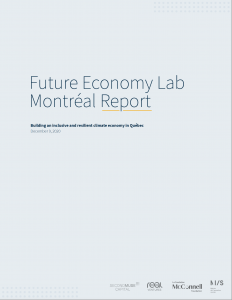 Grey cover with blue font that reads Future Economy Lab Montreal Report