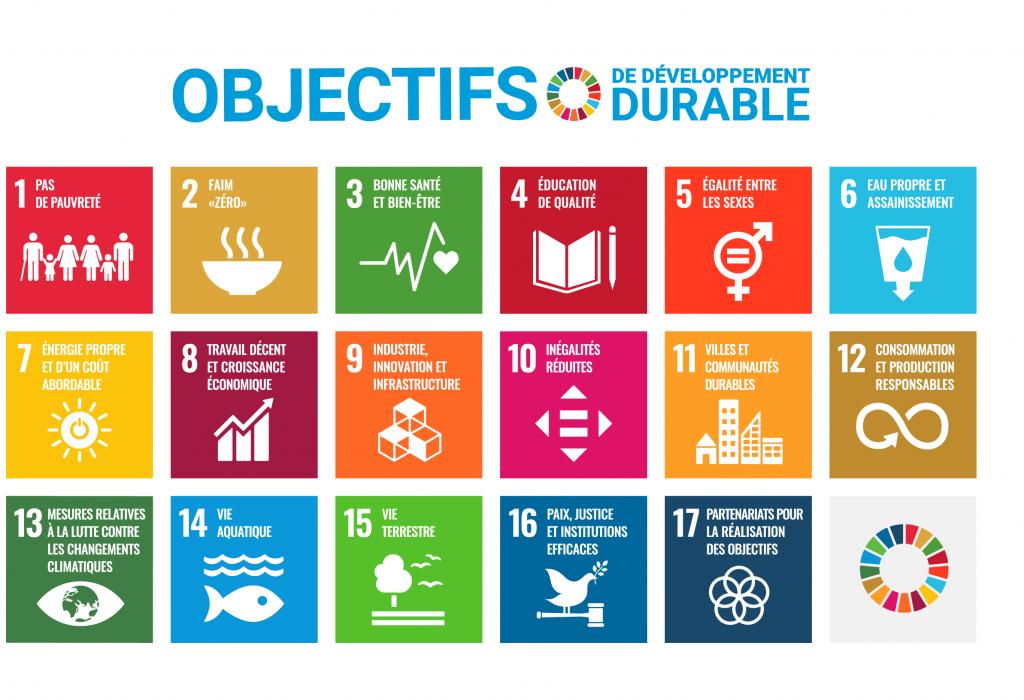 Diagramme présentant les 17 objectifs en matière de développement durable des Nations Unies. 1. Éradication de la pauvreté ; 2. Lutte contre la faim ; 3. Accès à la santé ; 4. Accès à une éducation de qualité ; 5. Égalité entre les sexes ; 6. Accès à l'eau salubre et à l'assainissement ; 7. Recours aux énergies renouvelables ; 8. Accès à des emplois décents ; 9. Bâtir une infrastructure résiliente, promouvoir une industrialisation durable qui profite à tous et encourager l'innovation ; 10. Réduction des inégalités ; 11. Villes et communautés durables ; 12. Consommation et production responsables ; 13. Lutte contre le changement climatique ; 14. Vie aquatique ; 15. Vie terrestre ; 16. Justice et paix ; 17. Partenariats pour la réalisation des objectifs.